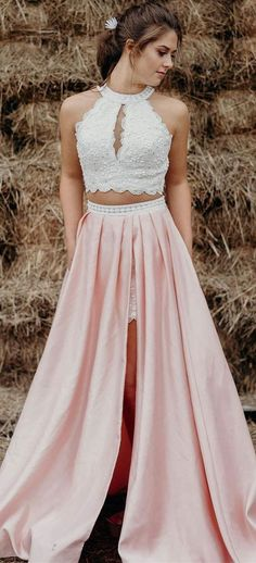 2018 two piece white and pink long prom dress, prom dress with side slit, prom dress with pockets M2653