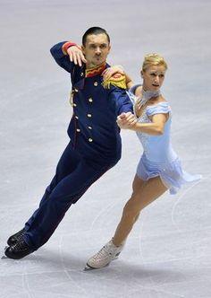 Tatiana Volosozhar and Maxim Trankov of Russia  pairs short program   2013/2014 NHK Trophy, Pairs costume inspiration for Sk8 Gr8 Designs