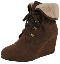 City Classified Women's Nast Faux Nubuck Leather Wedge Cuffed Faux Fux Ankle Boot * Awesome product. Click the image : Boots