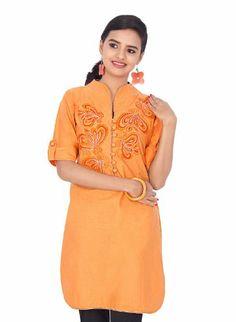 IndusDiva Women's Orange Cotton Kurti Kameez Style: Straight Cut - Sleeves: Half Sleeves. Work type:Embroidery patch work. Garment type:Kurti.  #IndusDiva #Apparel