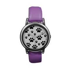Black and White Pawprint Wristwatch