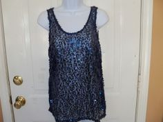 Heart Loves Hips Embellished Navy Blue tank Top w/ Sequins Size S Women's  NEW #HeartLoveHips #KnitTop #Clubwear