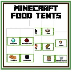 FREE Minecraft Food Tents for Minecraft Party