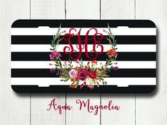 Watercolor Floral Wreath - Red - Purple - Burgundy Roses - Monogrammed License Plate - Black & White Stripes - Car Tag -  License Plate by AquaMagnolia on Etsy