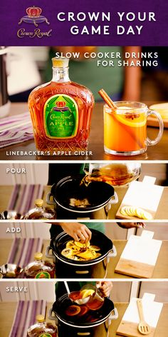 Tackle your game day plans with the Linebacker's Apple Cider straight from the slow cooker. Pour cups of Crown Royal Regal Apple, and 1 gallon of cider or unfiltered apple juice into a large slow cooker. Add orange rounds, & slices of fresh ginger. Holiday Drinks, Fun Drinks, Yummy Drinks, Alcoholic Drinks, Yummy Food, Mixed Drinks, Apple Juice, Apple Cider, Crockpot Recipes