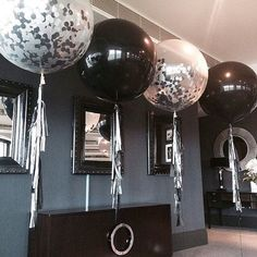 36 Inch Jumbo Balloon Confetti Filled Clear Balloon and Solid Color Pack for Events. Bridal Showers. Baby Shower. Celebrations