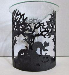 Partylite Fragrance Warmer Halloween Trick Or Trick Black Metal Glass Dish