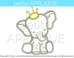 cute baby elephant Applique Design for by PetiteApplique on Etsy