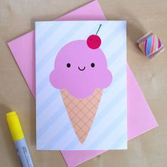 Kawaii Ice Cream Card - Summer Holiday Greetings (2.00 GBP)