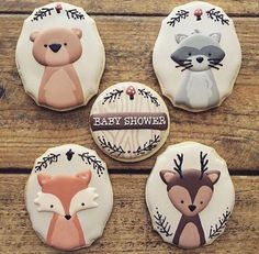 Baby shower decorations animals sugar cookies 17 ideas for 2019 Fancy Cookies, Iced Cookies, Cute Cookies, Royal Icing Cookies, Cupcake Cookies, Sugar Cookies, Fox Cookies, Baby Shower Cupcakes, Shower Cakes