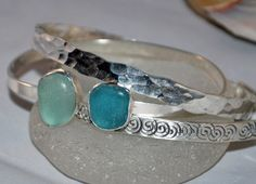 Sea Glass Sterling Silver Cuff Turquoise Sea by kathyarterburn, $45.00