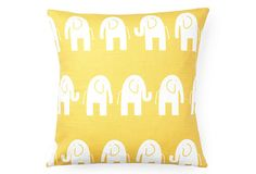 Canary pillow with white elephants, perfect!