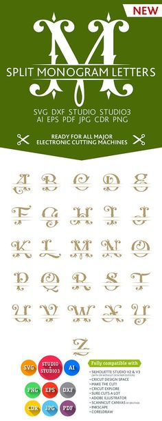 Split Letter Monogram Font Alphabet SVG DXF EPS Studio Studio3 Png Pdf Jpg Ai Cdr cuttable files for Silhouette Studio, Cricut, Cameo