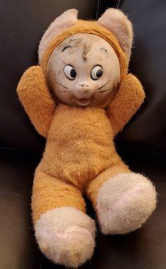 "1950s Rushton 9"" Plush Doll, Rushton Plush Mouse, Collectible Rushton, Vinyl Face Dolls, Vintage Plush Mouse, 1950s Plush Dolls, Mouse Plush by Lalecreations on Etsy Vintage Oddities, Creepy Dolls, How To Make Handbags, Old Dolls, Plush Dolls, Leather Tooling, Vintage Leather, 1950s, Teddy Bear"