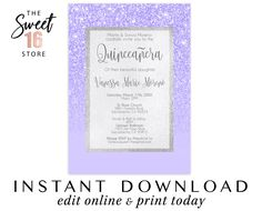 Quinceanera Invitation, Purple Glitter Quince invitations, Instant download printable Digital Invites, Editable Lilac Mis Quince invitation Quince Invitations, Quinceanera Invitations, Online Invitations, Printable Invitations, Candy Bar Labels, Edit Online, Rose Gold Glitter, Favor Tags, Save The Date