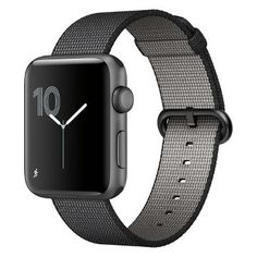 Apple® Watch Series 2 42mm Space Gray Aluminum Case with Black Woven Nylon Band