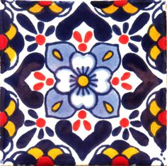 / hand painted mexican talavera tile from hadeda / in blue, gold and red /