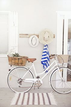 love a white cruiser bike, old french basket, nautical stripes, deck and beach hats x