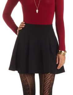 high-waisted solid cotton skater skirt