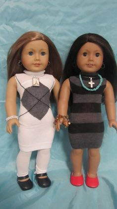 American Girl dresses made from socks! American Girl dresses made from socks! Sewing Doll Clothes, Sewing Dolls, Girl Doll Clothes, Doll Clothes Patterns, Girl Dolls, Doll Patterns, Ag Dolls, Old Clothes, Clothes Crafts