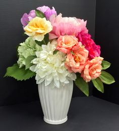 Spring Tabletop: (front view) Dahlia, peonies, hydrangeas, roses on porcelain vase with beaded rim . Original design & arrangement by http://nfmdesign.synthasite.com/