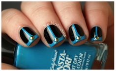 black nails with blue design