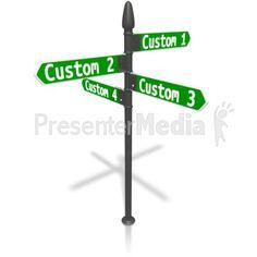Custom Four Street Sign PowerPoint Clip Art
