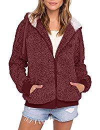 BSGSH Womens Winter Zip Up Hooded Fleece Sherpa Jacket Cardigan Coat with Pockets Clearance Sale