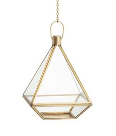 Check this out! Hanging planter in clear glass with an antique-finish metal frame. One open side. Chain and hook for hanging. Screws not included. Size 6 x 6 x 7 3/4 in. Length of chain 13 3/4 in. - Visit hm.com to see more.