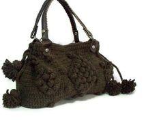 Brown crochet tote bag , Handmade Brown  Knit Bag Handwork gift for her Celebrity Style , Crochet gift - Gifts for mom , gerard darel bag