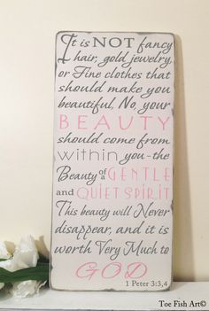 Beauty From Within 1 Peter 334  Scripture Verse  by ToeFishArt, $95.00