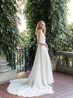 Ready to ship wedding dress by Davie & Chiyo for sale. Grey Ribbon, Bridesmaid Dresses, Wedding Dresses, Dance The Night Away, Bridal Looks, Silk Chiffon, Plunging Neckline, Perfect Fit, Feminine