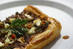 Savoury Tart with Olive Tapenade  and Caramelized Onions