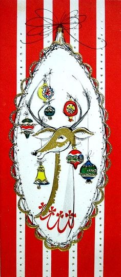 Old Christmas Post Cards — Reindeer  (349x800)
