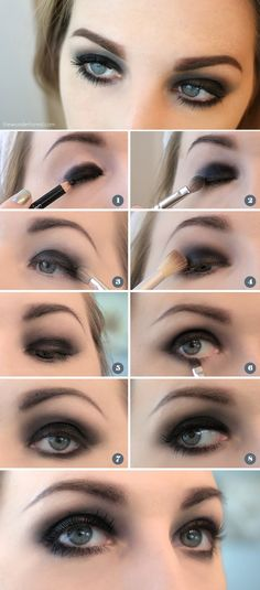 Easy Black Smokey Eye Tutorial - perfect for pirate eyes! - Easy Black Smokey Eye Tutorial – perfect for pirate eyes! Dramatic Smokey Eye, Dark Smokey Eye, Black Smokey Eye Makeup, Black Eyeliner, Beauty Makeup, Hair Makeup, Makeup Style, Makeup Geek, Goth Eye Makeup