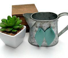 This item is unavailable Etsy Jewelry, Handmade Jewelry, Unique Jewelry, Handmade Gifts, Jewellery, Leather Leaf, Leaf Earrings, Turquoise Earrings, Leather Earrings