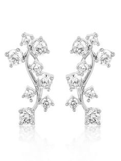 18K White Gold Plated Cz Diamond Vine Earring For Women.