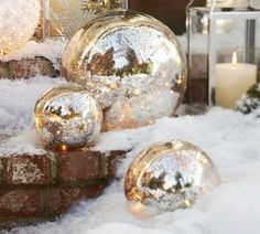 globe-shaped light covers, spraying inside with Krylon Looking Glass paint, and inserting a string of clear-colored small lights, Pottery Barn lookaloke Merry Christmas, Christmas Love, Beautiful Christmas, All Things Christmas, Winter Christmas, Christmas Crafts, Christmas Ornaments, Xmas, Gold Ornaments