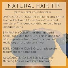 DIY Deep Conditioners for Natural Hair # Hair Care Natural Hair Regimen, Natural Hair Care Tips, Natural Hair Growth, Natural Hair Styles, Natural Beauty, Natural Curls, Organic Beauty, Deep Conditioner For Natural Hair, Dry Brittle Hair