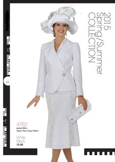 Jacket / Skirt Super Fine Crepe Fabric, Colors White and Black, Size 12-26 at http://ChampagneChurchSuits.com