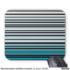 Monochromatic and blue accented horizontal lines mouse pad