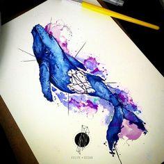 Desenho feito por @felipecesar.me =) Mais informações:  O conceito traduzido em tinta. - Ilustrador e tatuador autoral de Curitiba, Brasil. Agendamentos: contato@felipecesar.me http://fb.com/heyartworks  #vivo #baleia #whale #aquarela #watercolor #cores #colors #desenho #tattoo #tatuagem #ink #inked #arte #art #drawing #draw #tatouage #Tatowierung #tatuaje #artenapele #tinta #tatto2me #t2m #euquero #dibujo #dessin #tattoobrasil #brasil