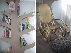 Neverland nursery, DIY nursery, tree bookshelf, peter pan, tinker bell, books