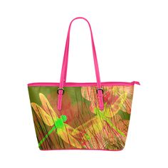 Dragonflies & Flowers Summer Q Leather Tote Bag/Small (Model 1651).