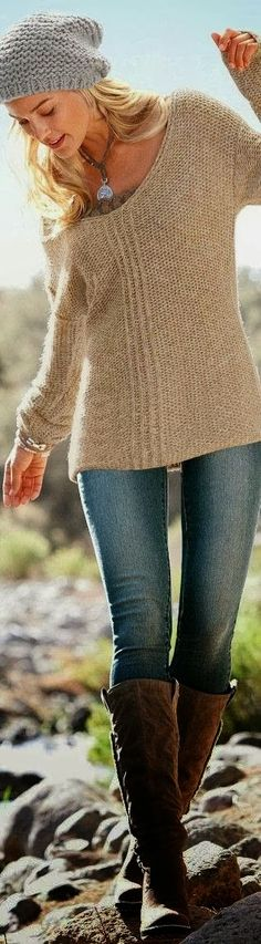 Brown handmade sweater and long boots