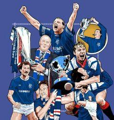 Rangers art McCoist, Gazza, Souness, Hateley Rangers Football, Rangers Fc, Football Art, Best Club, Football Pictures, Great Team, Chelsea Fc, Glasgow, Hero