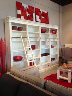 Red Private Library  #privatelibrary #private #bookshelve #bookcabinet #interieur #interieurwinkel #interior #interiorstore #schilderij #art #accessoires #lmapen #carpet #standaard #bank #sfeer
