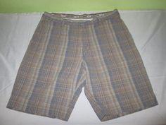 Men's TOMMY BAHAMA Flat Front Casual Shorts Sz 36 - Beige Plaid - Cotton Linen #TommyBahama #CasualShorts