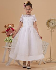 Spaghetti Straps Ankle-length Organza A-line Flower Girls' Dress