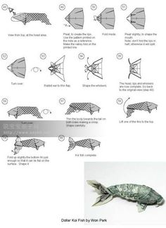 1000 images about origami money on pinterest money for Dollar bill origami fish